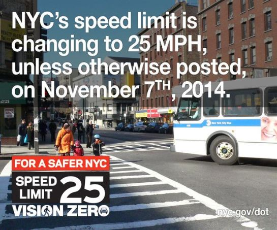 NYC Speed Limit Is Chaning To 25mph On November 7th 2014