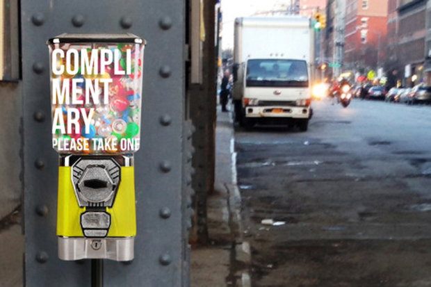 Toy Dispenser to Give Out Free Compliments Under the High Line