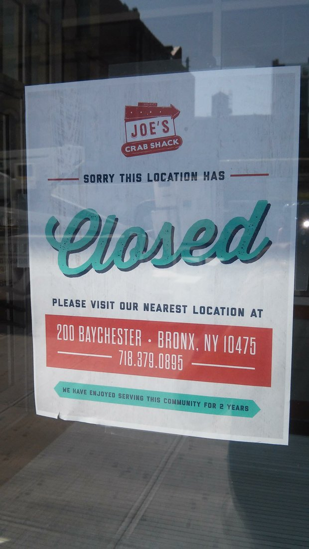 The City's First Joe's Crab Shack Location Has Closed Its Doors In Harlem.