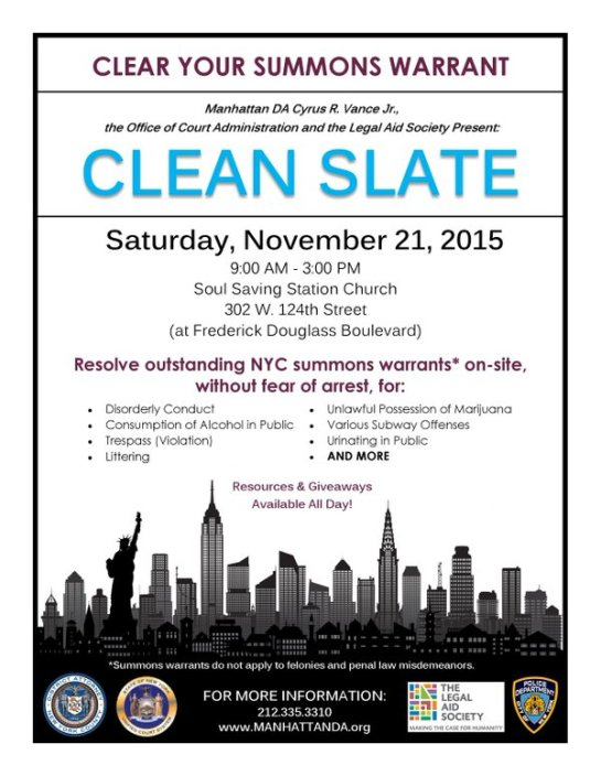 Clean Your Summons Warrant Day NYC