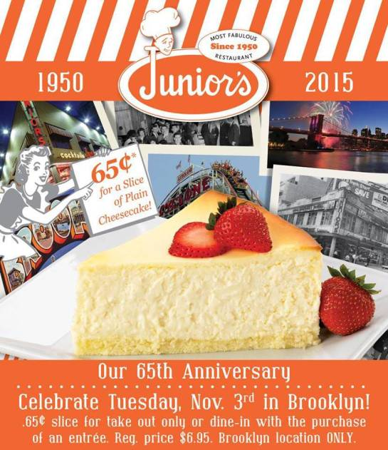 Junior's Cheesecake celebrates 65th anniversary with slices of famous cheesecake for 65 cents